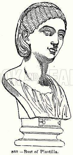 Bust of Plautilla. Illustration for Knight's Pictorial Gallery of Arts (London Printing and Publishing, c 1860).