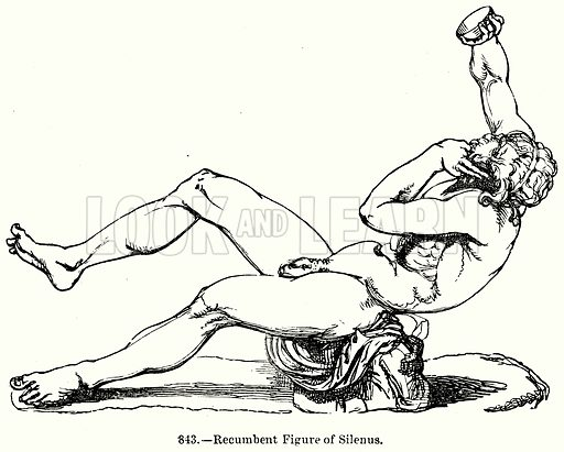 Recumbent Figure of Silenus. Illustration for Knight's Pictorial Gallery of Arts (London Printing and Publishing, c 1860).
