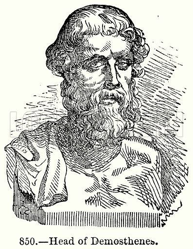 Head of Demosthenes. Illustration for Knight's Pictorial Gallery of Arts (London Printing and Publishing, c 1860).