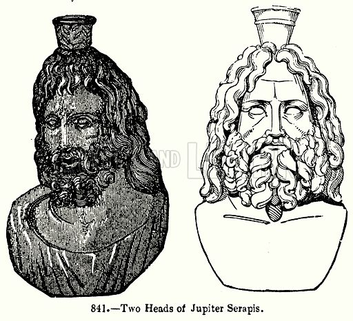 Two Heads of Jupiter Serapis. Illustration for Knight's Pictorial Gallery of Arts (London Printing and Publishing, c 1860).