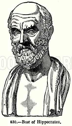 Bust of Hippocrates. Illustration for Knight's Pictorial Gallery of Arts (London Printing and Publishing, c 1860).