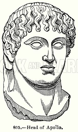 Head of Apollo. Illustration for Knight's Pictorial Gallery of Arts (London Printing and Publishing, c 1860).