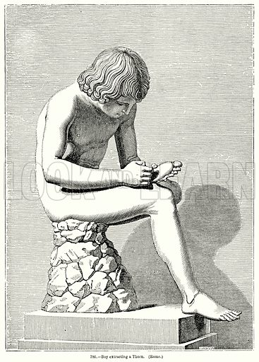 Boy Extracting a Thorn. (Rome.) Illustration for Knight's Pictorial Gallery of Arts (London Printing and Publishing, c 1860).