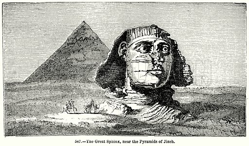 The Great Sphinx, near the Pyramids of Jizeh. Illustration for Knight's Pictorial Gallery of Arts (London Printing and Publishing, c 1860).