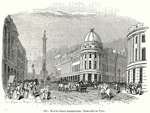 Modern Street Architecture: Newcastle on Tyne. Illustration for Knight's Pictorial Gallery of Arts (London Printing and Publishing, c 1860).