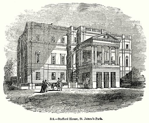 Stafford House, St James's Park. Illustration for Knight's Pictorial Gallery of Arts (London Printing and Publishing, c 1860).
