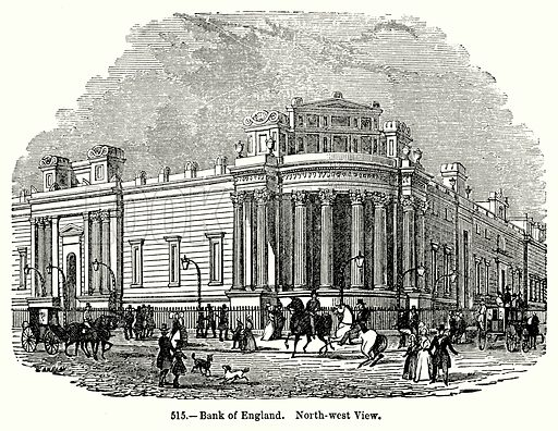 Bank of England. North-West View. Illustration for Knight's Pictorial Gallery of Arts (London Printing and Publishing, c 1860).