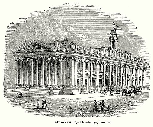 New Royal Exchange, London. Illustration for Knight