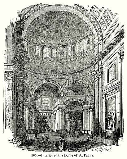 Interior of the Dome of St. Paul's. Illustration for Knight's Pictorial Gallery of Arts (London Printing and Publishing, c 1860).