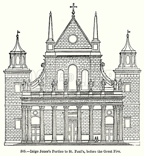 Inigo Jones's Portico to St Paul's, before the Great Fire. Illustration for Knight's Pictorial Gallery of Arts (London Printing and Publishing, c 1860).