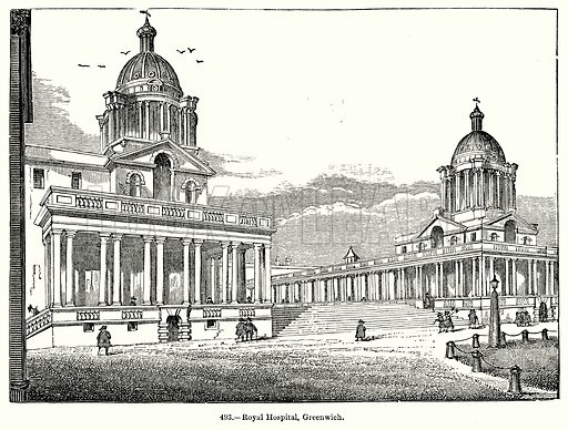 Royal Hospital, Greenwich. Illustration for Knight's Pictorial Gallery of Arts (London Printing and Publishing, c 1860).