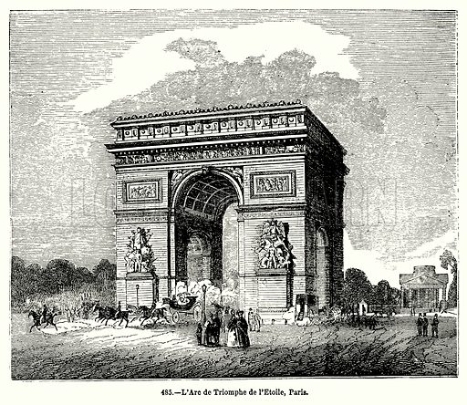 L'Are de Triomphe de l'Etoile, Paris. Illustration for Knight's Pictorial Gallery of Arts (London Printing and Publishing, c 1860).