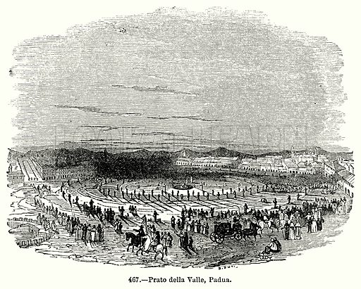 Prato della Valle, Padua. Illustration for Knight's Pictorial Gallery of Arts (London Printing and Publishing, c 1860).