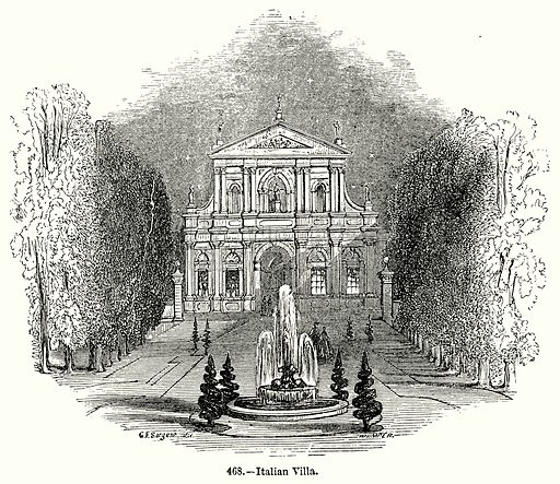 Italian Villa. Illustration for Knight's Pictorial Gallery of Arts (London Printing and Publishing, c 1860).