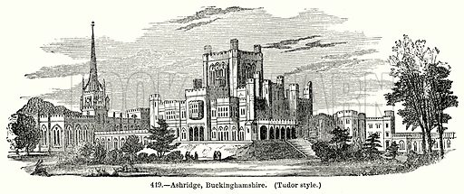 Ashridge, Buckinghamshire. (Tudor Style.) Illustration for Knight's Pictorial Gallery of Arts (London Printing and Publishing, c 1860).