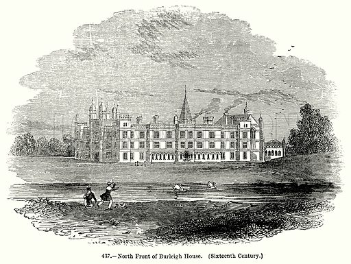 North Front of Burleigh House. (Sixteenth Century.) Illustration for Knight's Pictorial Gallery of Arts (London Printing and Publishing, c 1860).