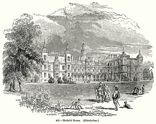 Hatfield House. (Elizabethan.) Illustration for Knight's Pictorial Gallery of Arts (London Printing and Publishing, c 1860).