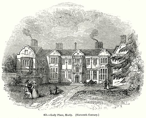 Lady Place, Hurly. (Sixteenth Century.) Illustration for Knight's Pictorial Gallery of Arts (London Printing and Publishing, c 1860).
