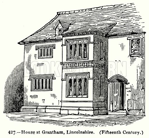 House at Grantham, Lincolnshire. (Fifteenth Century.) Illustration for Knight's Pictorial Gallery of Arts (London Printing and Publishing, c 1860).