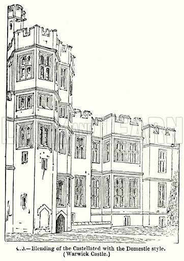Blending of the Castellated with the Domestic Style. (Warwick Castle.) Illustration for Knight's Pictorial Gallery of Arts (London Printing and Publishing, c 1860).