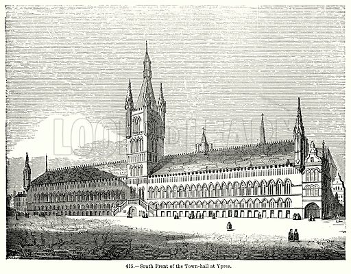South Front of the Town-Hall at Ypres. Illustration for Knight's Pictorial Gallery of Arts (London Printing and Publishing, c 1860).