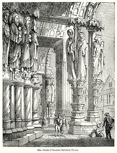 Porch of Chartres Cathedral, France. Illustration for Knight's Pictorial Gallery of Arts (London Printing and Publishing, c 1860).