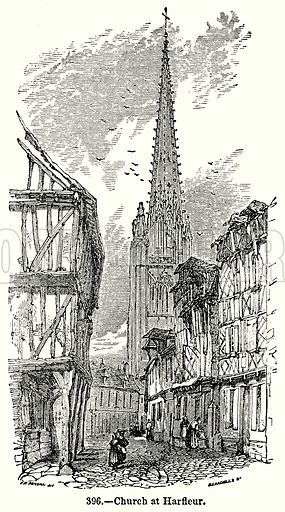 Church at Harfleur. Illustration for Knight's Pictorial Gallery of Arts (London Printing and Publishing, c 1860).
