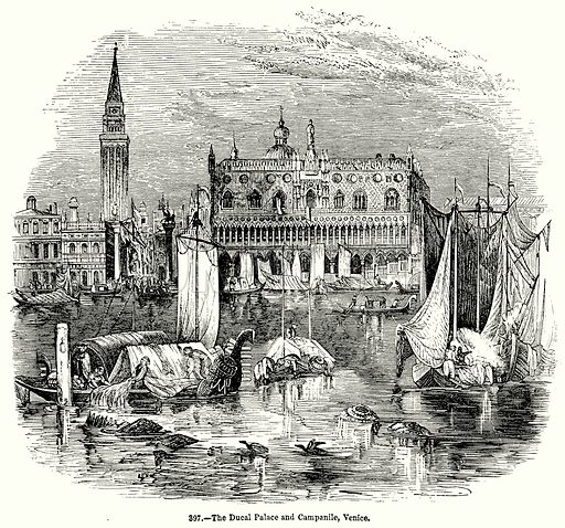 The Ducal Palace and Campanile, Venice. Illustration for Knight's Pictorial Gallery of Arts (London Printing and Publishing, c 1860).