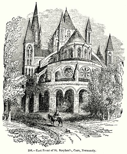 East Front of St. Stephen's, Caen, Normandy. Illustration for Knight's Pictorial Gallery of Arts (London Printing and Publishing, c 1860).