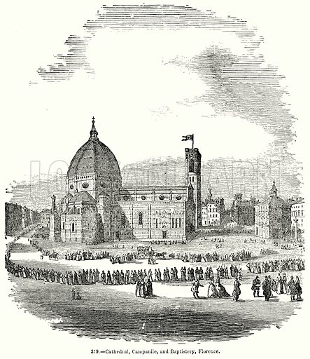 Cathedral, Campanile, and Baptistery, Florence. Illustration for Knight's Pictorial Gallery of Arts (London Printing and Publishing, c 1860).