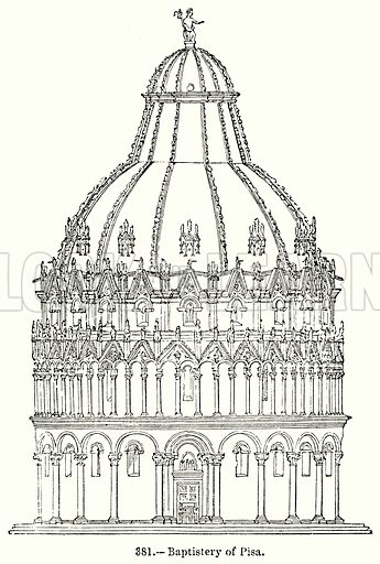 Baptistery of Pisa. Illustration for Knight's Pictorial Gallery of Arts (London Printing and Publishing, c 1860).