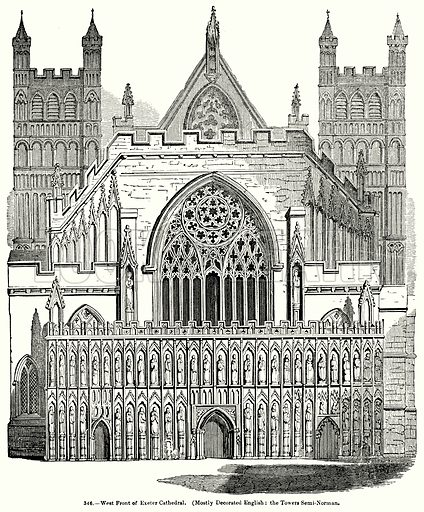 West Front of Exeter Cathedral. (Mostly Decorated English: the Tower Semi-Norman.) Illustration for Knight's Pictorial Gallery of Arts (London Printing and Publishing, c 1860).