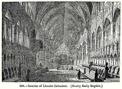 Interior of Lincoln Cathedral. (Mostly Early English.) Illustration for Knight's Pictorial Gallery of Arts (London Printing and Publishing, c 1860).