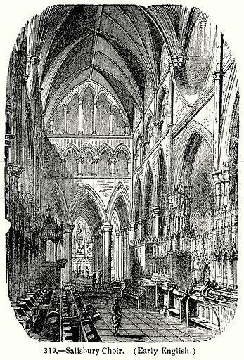 Salisbury Choir. (Early English.) Illustration for Knight's Pictorial Gallery of Arts (London Printing and Publishing, c 1860).