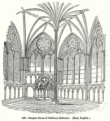 Chapter-House of Salisbury Cathedral. (Early English.) Illustration for Knight's Pictorial Gallery of Arts (London Printing and Publishing, c 1860).