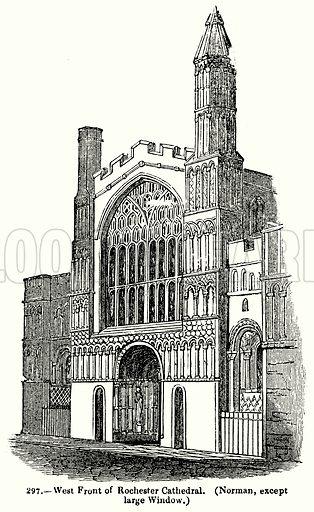 West Front of Rochester Cathedral. (Norman, Except Large Window.) Illustration for Knight's Pictorial Gallery of Arts (London Printing and Publishing, c 1860).
