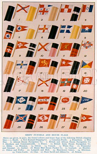 Ship's funnels and house flags. Illustration for Newnes' Pictorial Knowledge (1932).