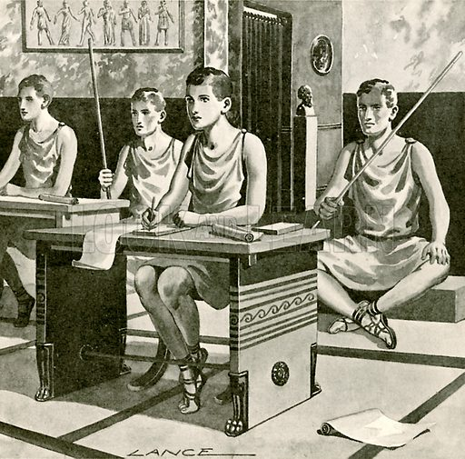 School in ancient Athens.  Illustration for Newnes' Pictorial Knowledge (1932).