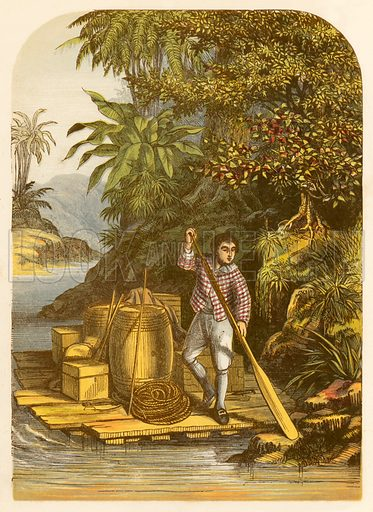 Robinson Crusoe by means of a raft saves many useful articles from the ship