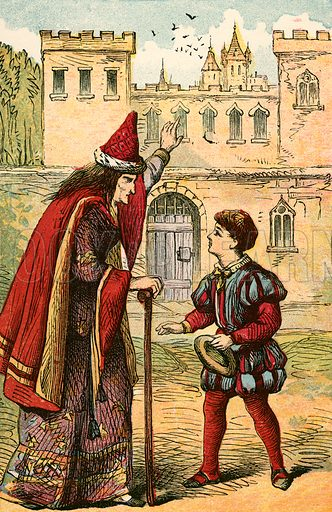Jack and the castle.  Illustration for Warne's National Nursery Library (Frederick Warne, c 1870).