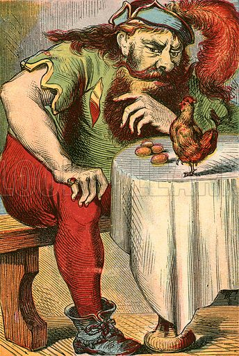 The hen that lays golden eggs. Illustration for Warne's National Nursery Library (Frederick Warne, c 1870).