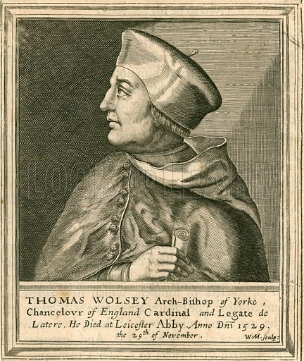 Thomas Wolsey.  Illustration for A Biographical History of England by J Granger (William Baynes, 1824).