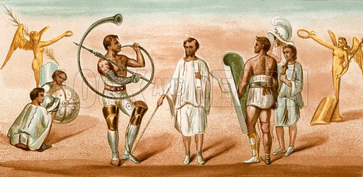Gladiators, from a wall painting at Pompeii. Illustration from History of Rome by Victor Duruy (Kegan Paul, Trench & Co, 1884).