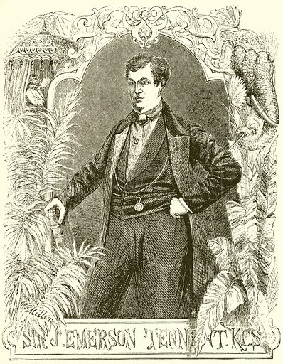 Sir James Emerson Tennent. Illustration for Wild Sports of the World by James Greenwood (Beeton, 1862).
