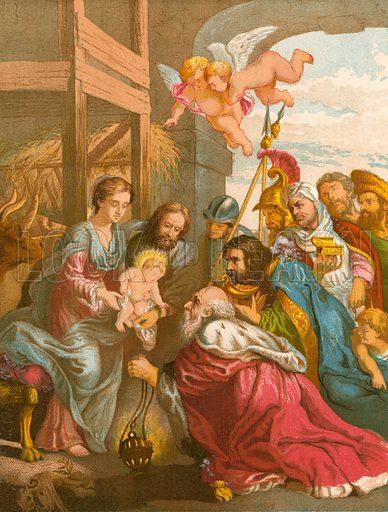 Nativity. Illustration for Welsh Bible (Thomas Jack, c 1870).