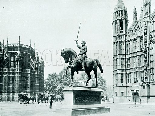 Statue of Richard Coeur de Lion in Old Palace Yard. Illustration from Parliament Past and Present by Arnold Wright and Philip Smith (Hutchinson, c 1900).