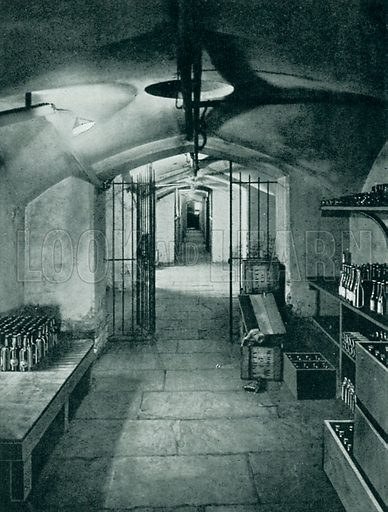 Wine cellars of the House of Commons. Illustration from Parliament Past and Present by Arnold Wright and Philip Smith (Hutchinson, c 1900).