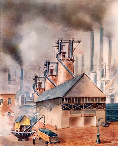 A group of blast furnaces in an English industrial town