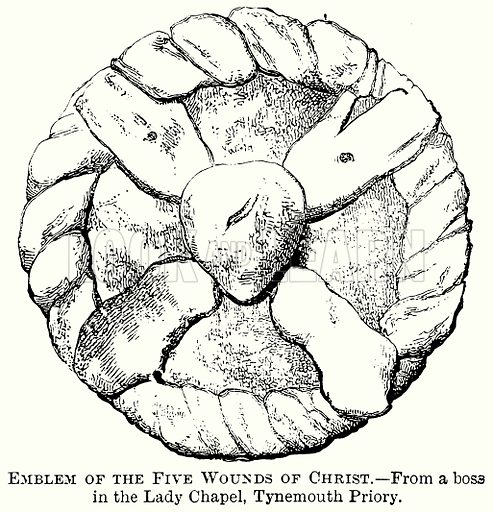 Emblem of the Five Wounds of Christ. Illustration from The Comprehensive History of England (Gresham Publishing, 1902).