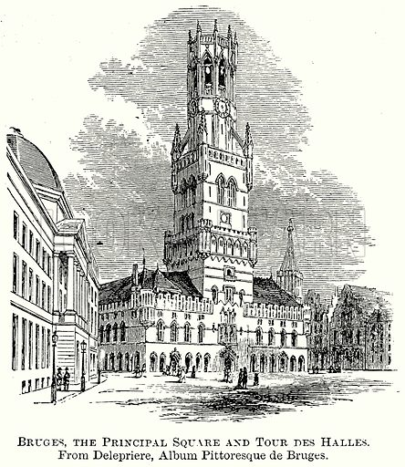 Bruges, the Principal Square and Tour des Halles. Illustration from The Comprehensive History of England (Gresham Publishing, 1902).